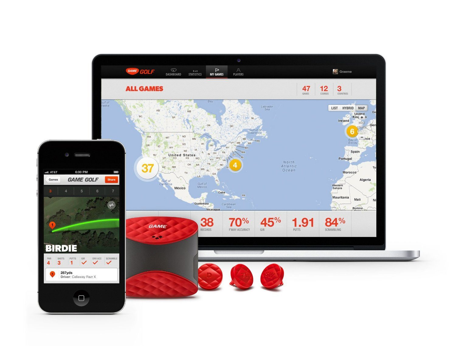 GAME GOLF Digital Tracking System Wearable