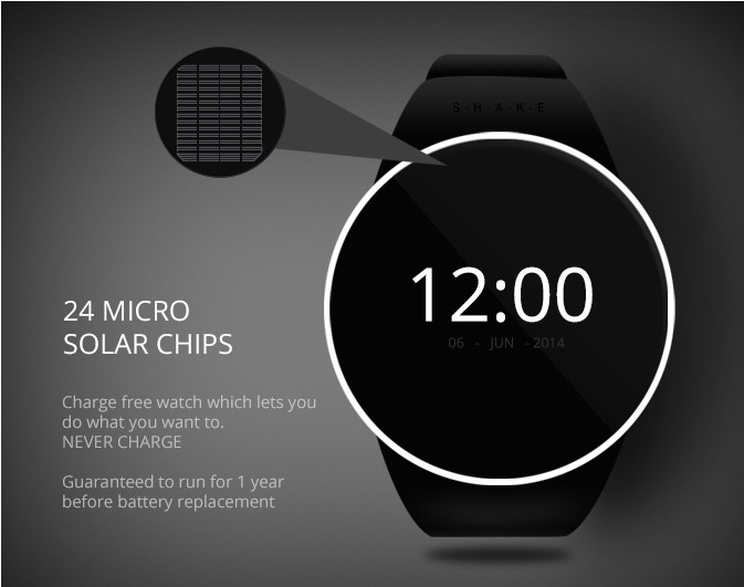 Uvn Shake Solar Smartwatch Cool Wearable