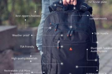 iBackPack 2.0: Backpack with WiFi, Bluetooth Audio, Bulletproof Pockets
