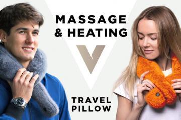 VascoPillow Travel Pillow with Massage & Heating Mode