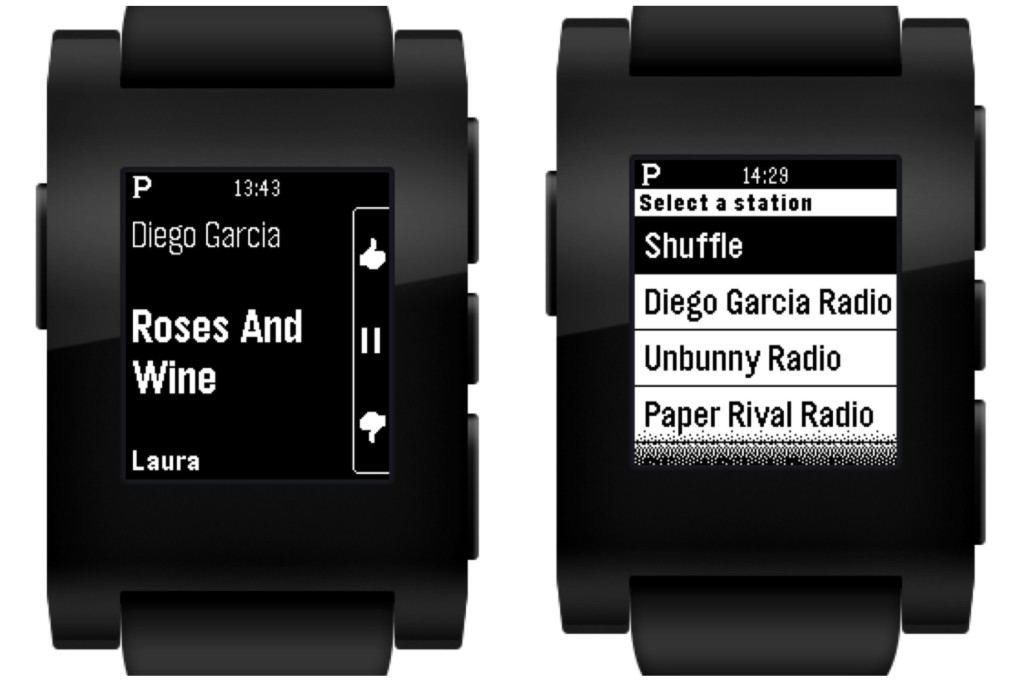Pandora Debuts on the Pebble Appstore