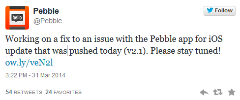 Pebble 2.1 Update Bricking Watches?