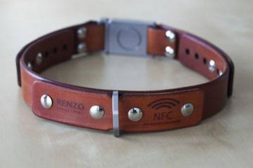 ALU Leather: Dog Collar w/ NFC