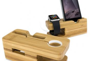 Olixar Charging Apple Watch Bamboo Stand
