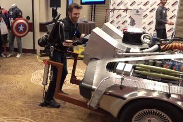 Hacksmith Exoskeleton Lifting DeLorean Car