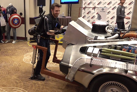 Garmin Waterproof Fitness Tracker >> Hacksmith Exoskeleton Lifting DeLorean Car - Cool Wearable