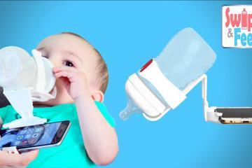 Swipe & Feed: Baby Bottle & Smartphone Holder