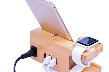 AICase Bamboo Wood Charging Station for Apple Watch, iPhone