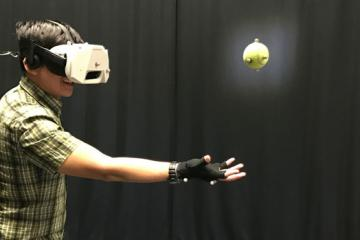 Catching a Real Ball While in a Virtual World