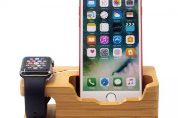 Blue Hole 3-USB Port Wooden Apple Watch Stand