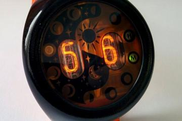 MOONWATCHER Nixie Tube Watch with IN-16 Fine Grid Tubes